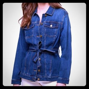 Sanctuary denim jacket,belt, two 2 pockets